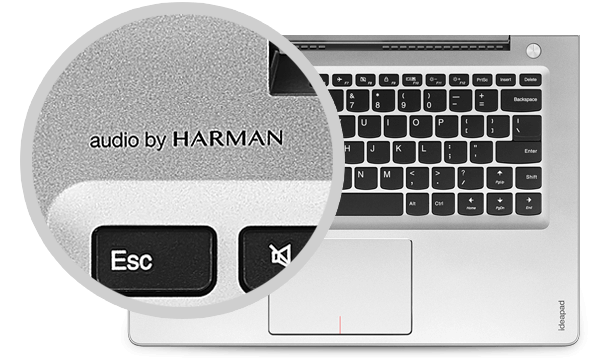 ideapad 510S: Stereo speakers, certified by Harman® Audio