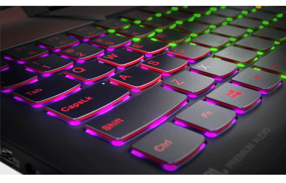 Features a multicolor backlit keyboard.