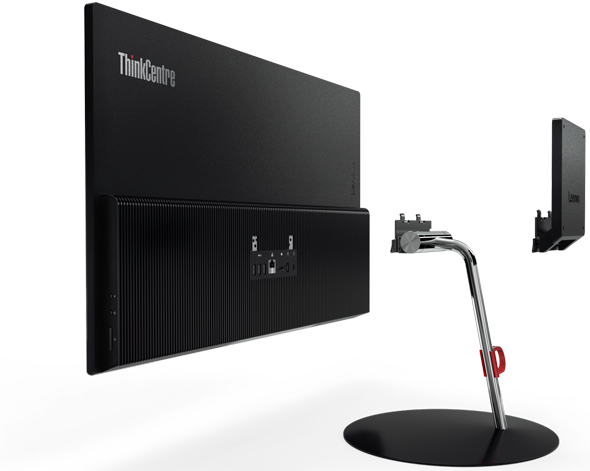 Easily mount the ThinkCentre X1 to a wall by disconnecting the stand and replacing with the optional low-profile VESA mount accessory