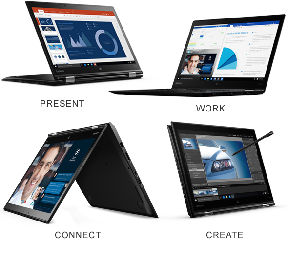 The versatile ThinkPad X1 Yoga works the way you do with 4 usage modes to work, present, create, and connect.