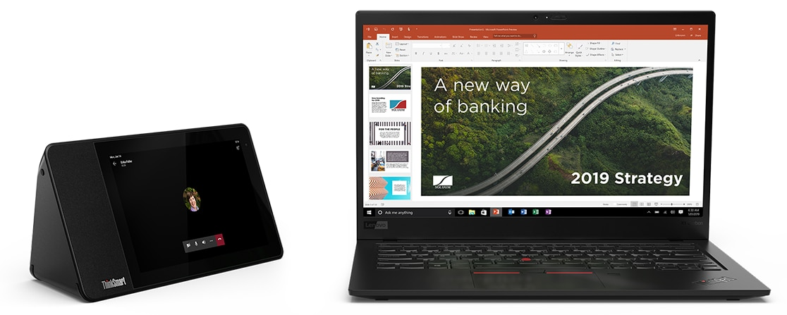 Lenovo ThinkSmart View next to a ThinkPad laptop