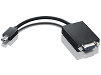 The mini-DisplayPort interface is a miniaturized version of the popular DisplayPort digital display interface. The mini-DisplayPort to VGA adapter provides the best sleek compatibility experience as it seamlessly enables interoperability with existing analog projectors and displays. The mini-DisplayPort to VGA adapter is standards compliant with the DisplayPort standard, and also is forward compatible with Thunderbolt. The mini-DisplayPort to VGA adapter allows you to connect to an extended display or work in mirrored mode with VGA projectors, commonly associated with VGA resolutions up to 1920 x 1200 @ 60Hz reduce blanking display resolution, so the same visual information that you see is viewed by your audience. The mini-DisplayPort to VGA adapter is color coordinated to be consistent with the superior ThinkPad experience. Length: 20 cm (7.8 in)Weight: 0.15 kg (0.33 lb)