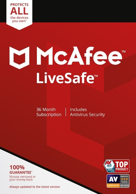 McAfee LiveSafe, 15-month Subscription, Unlimited Devices (Electronic Download)