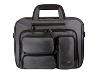 Lenovo Mobile Edge The Graphite 16  Corporate Laptop & Tablet Briefcase notebook carrying case This carry-all solution for road-warriors, business commuters and students is designed to hold all your computing devices. Your 16  laptop, a sleek ultrabook and/or a tablet or e-reader all fit in this section with their own, separate padded pockets! On the front of the case, you'll find a zip-down workstation with pockets for business cards, USB drives, memory cards, cell phones and your personal items, plus a separate pocket for plane tickets or travel documents.<br />The case also features three exterior quick-access padded pockets to store and organize your power supply, mouse, and other accessories. A separate accordion file section provides ample space for your work papers, files, and magazines. The padded, lay-flat handles and matching padded shoulder strap ensure comfort and style, while a rear trolley strap attaches the case to rolling luggage for use on those long travel days!<br />