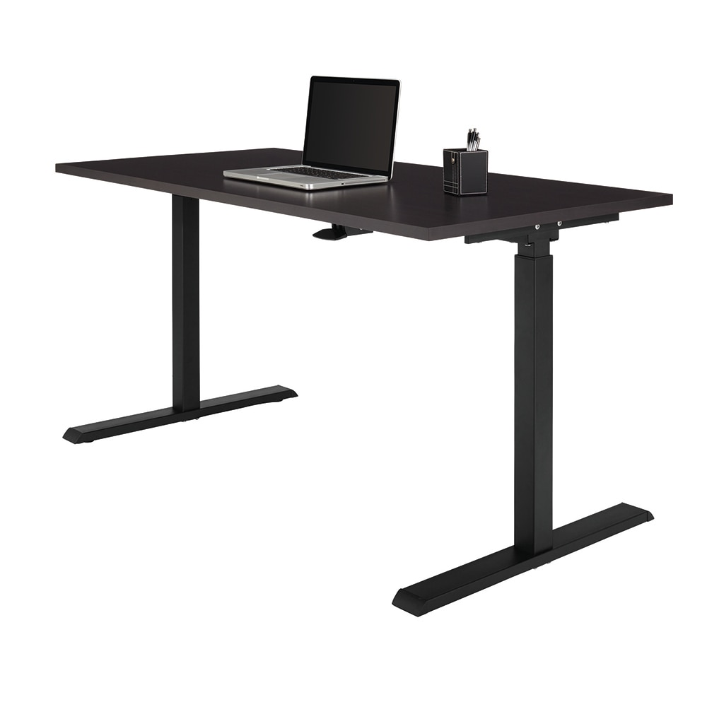 Realspace® Magellan Pneumatic Sit-Stand Height-Adjustable Desk, Espresso
