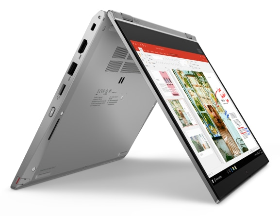 Right three-quarter view of silver Lenovo ThinkPad L13 Yoga Gen 2 in stand mode