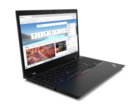 Vorderansicht des Lenovo ThinkPad L15 Gen 2 (Intel) Notebooks, um 90Grad geöffnet und gekippt mit Blick auf die Anschlüsse auf der linken Seite.