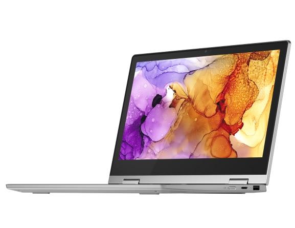 Left three-quarter view of silver Lenovo IdeaPad Flex 3 11 ADA laptop