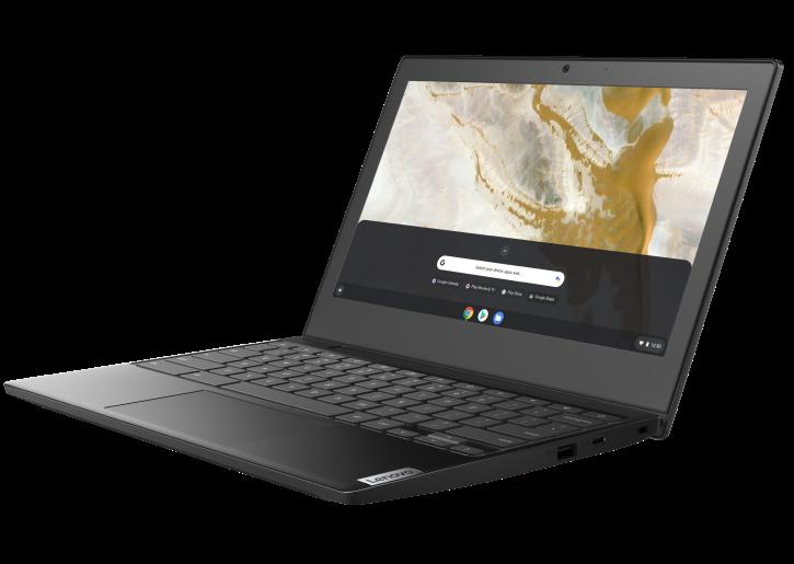 Bonne vue de trois quarts de Lenovo IdeaPad 3 Chromebook 11 AMD