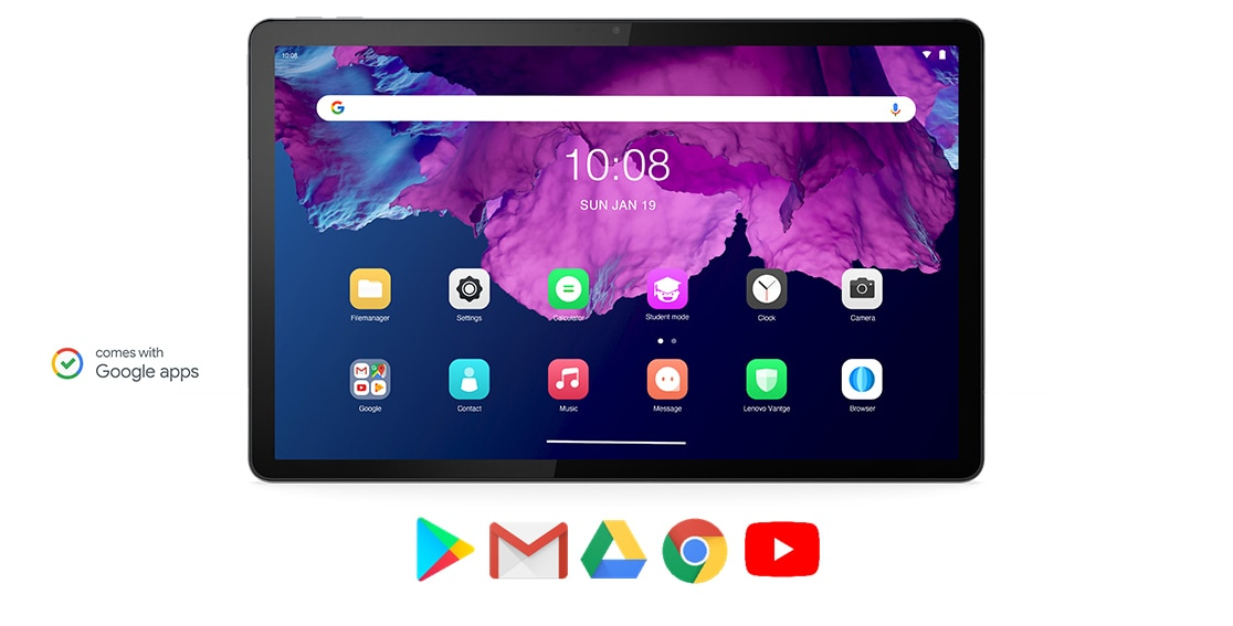 Image of Lenovo Tab P11 tablet highlighting Google apps