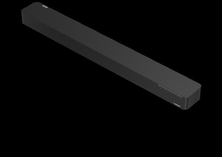 Lenovo ThinkSmart Bar barre audio-3/4 vue avant-droite, inclinée et inclinée vers le bas de gauche à droite