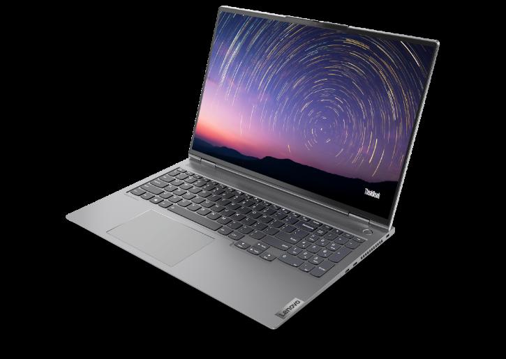 """Ordinateur portable Lenovo ThinkBook 16p Gen 2 (16 """" AMD) - vue de face droite 3/4 légèrement au-dessus, avec couvercle ouvert et image du ciel crépuscule avec des lignes concentriques superposées pour émuler les motifs d'étoiles sur l'écran"""