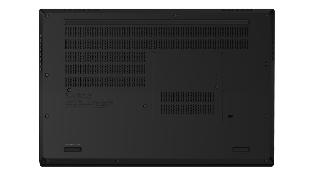 Bottom view of closed Lenovo ThinkPad P15 laptop