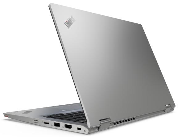 Rear left three-quarter view of silver Lenovo ThinkPad L13 Yoga Gen 2
