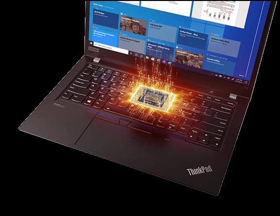 Lenovo ThinkPad T14 Gen2 (14'' AMD) Notebook mit AMD Ryzen PRO-Prozessor, magisch schwebend, Detailansicht der Tastatur, umgeben von hellen, energetischen Linien, die Leistung andeuten.