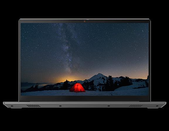 Vorderansicht des Lenovo ThinkBook 15 Gen 2, um 90 Grad geöffnet