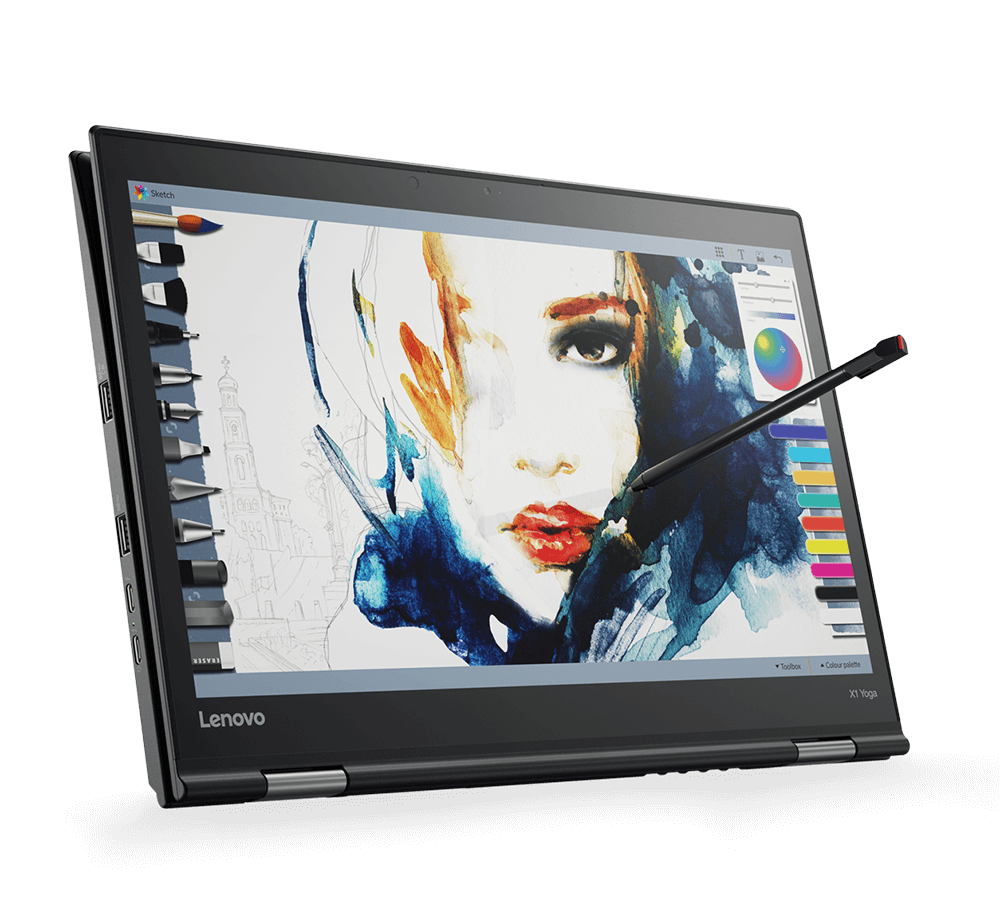 Lenovo ThinkPad X1 Yoga 2-in-1 being used in Tablet Mode with rechargeable built-in pen.