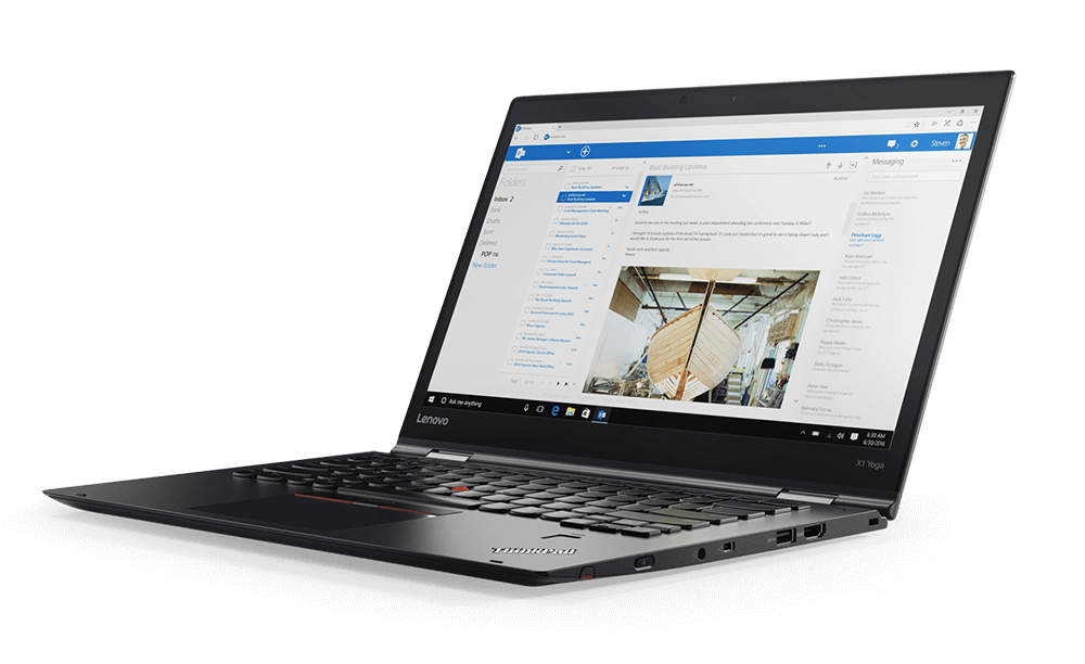 Lenovo ThinkPad X1 Yoga in Laptop Mode, with award-winning keyboard.