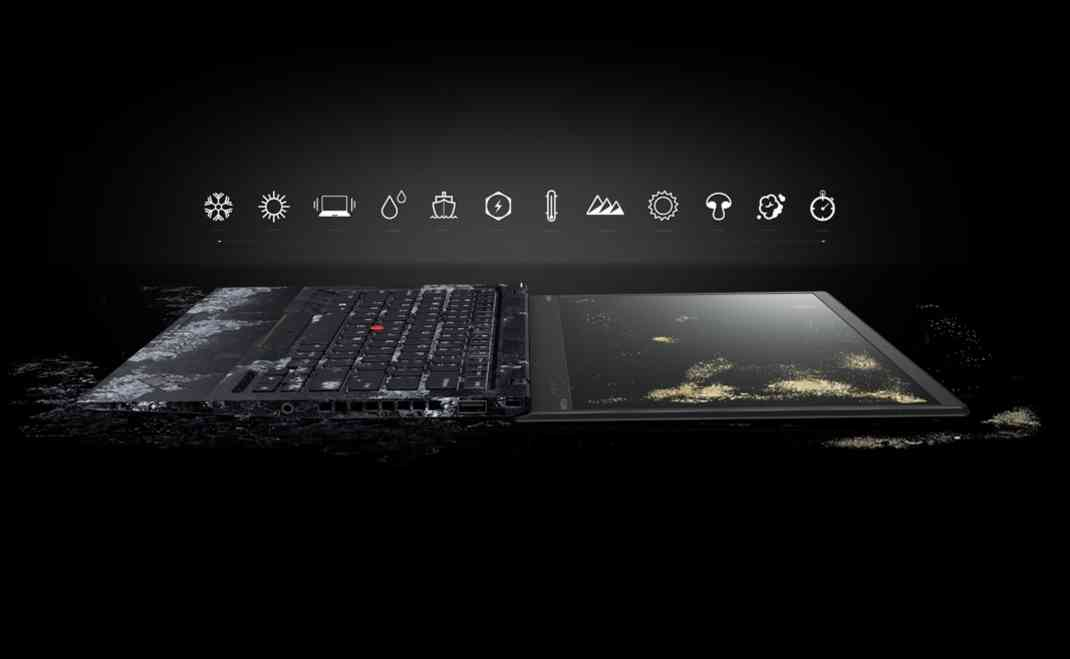 Lenovo ThinkPad X1 Carbon Open 180 degrees with keyboard frozen and display covered in dirt, along with icons for the 12 military-grade tests