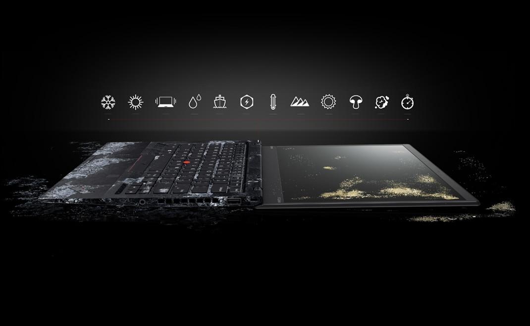 Le Lenovo ThinkPad X1 Carbon ouvert à 180 degrés avec clavier gelé et écran recouvert de saleté, avec icônes des 12 tests militaires