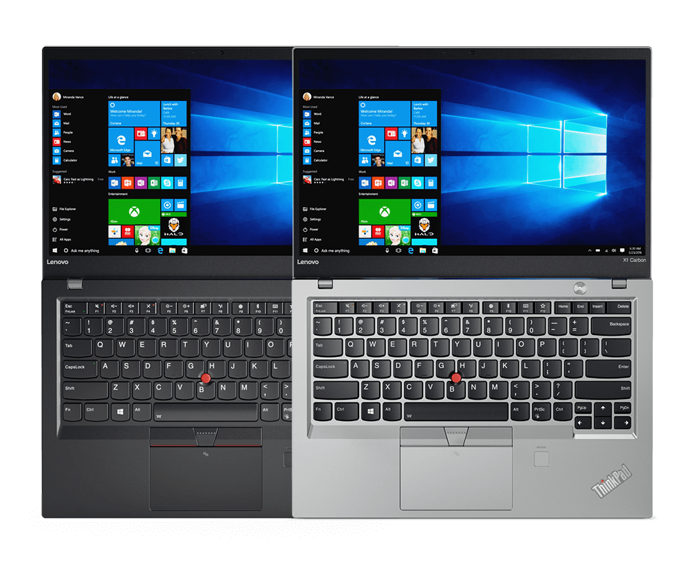 Lenovo ThinkPad X1 Carbon Both Silver and Black Models Side by Side