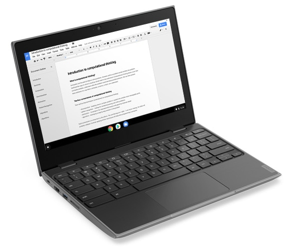 Lenovo 100e Chromebook (2nd Gen, MTK) in laptop mode.