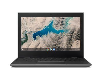 Front-facing Lenovo 100e Chromebook (2nd Gen, MTK) open 90 degrees.