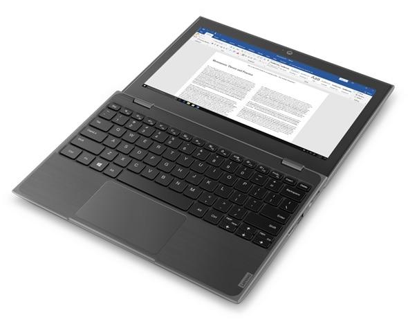 The Lenovo 100e laptop open 180 degrees.