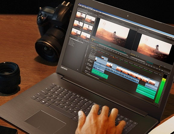 Lenovo V320 in use, with video being edited.