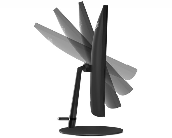 Lenovo V130 AIO in black, side view showing the display flipped through different angles
