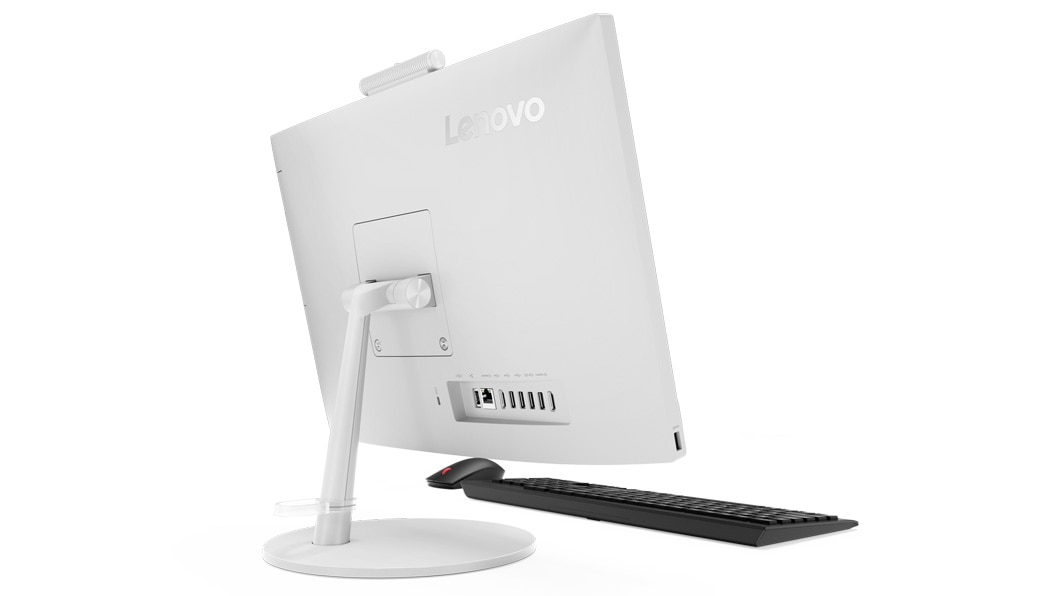 f01f696232b ... Lenovo V530 AIO rear shot of the white color version, plus keyboard and  mouse.