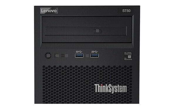 Lenovo ThinkSystem ST50 Front View with Media Bays