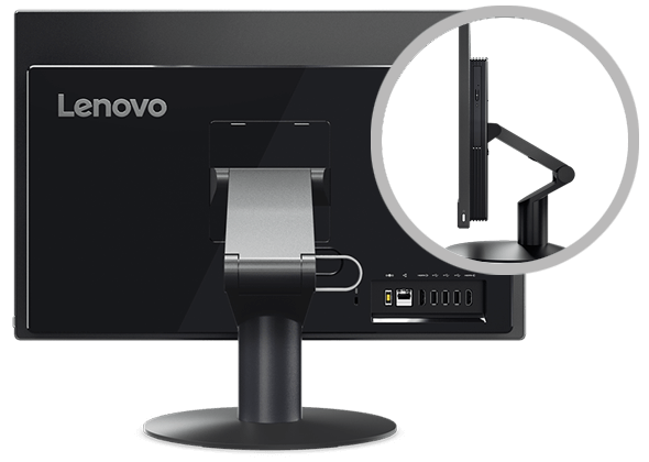 Lenovo V510z rear view with close up of stand