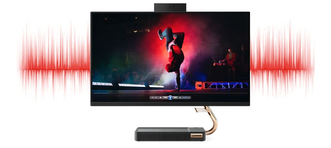 Image of a breakdancer on the display of the  IdeaCentre A540 (24) - with sound waves