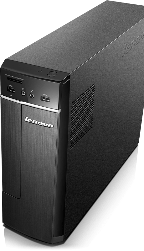 Lenovo H30 Intel Front View From Side Slim Footprint