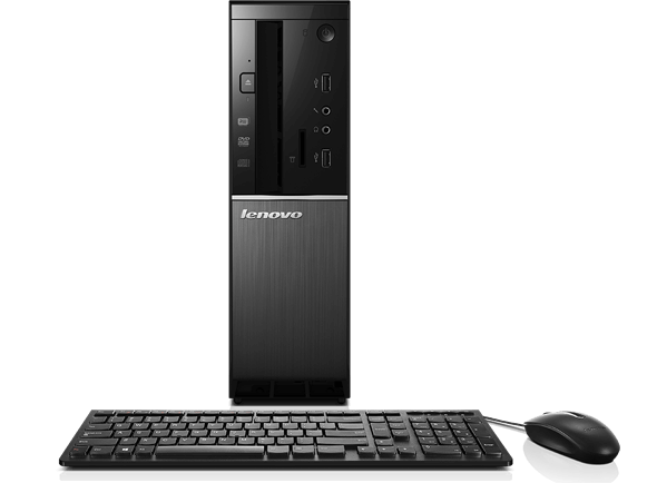 Lenovo Ideacentre 510S, front view with keyboard and mouse