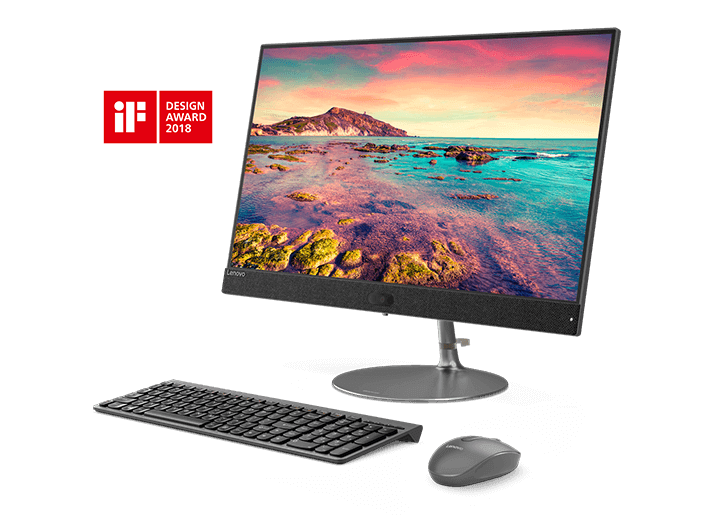 Lenovo Ideacentre AIO 730s PC in Iron Grey, with matching keyboard and mouse.