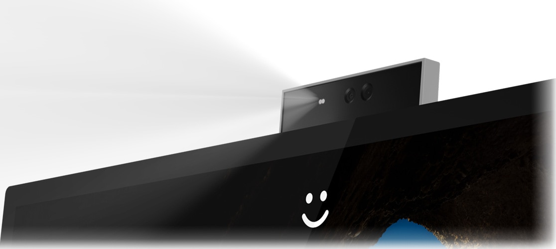 Close-up of the IdeaCentre A540 (27)'s TrueBlock Privacy Shutter, which enables you to physically closing the webcam.