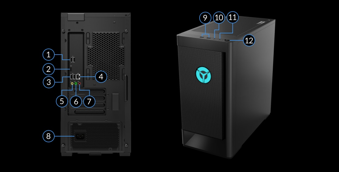 Lenovo Legion Tower 5 (AMD) desktop showing ports