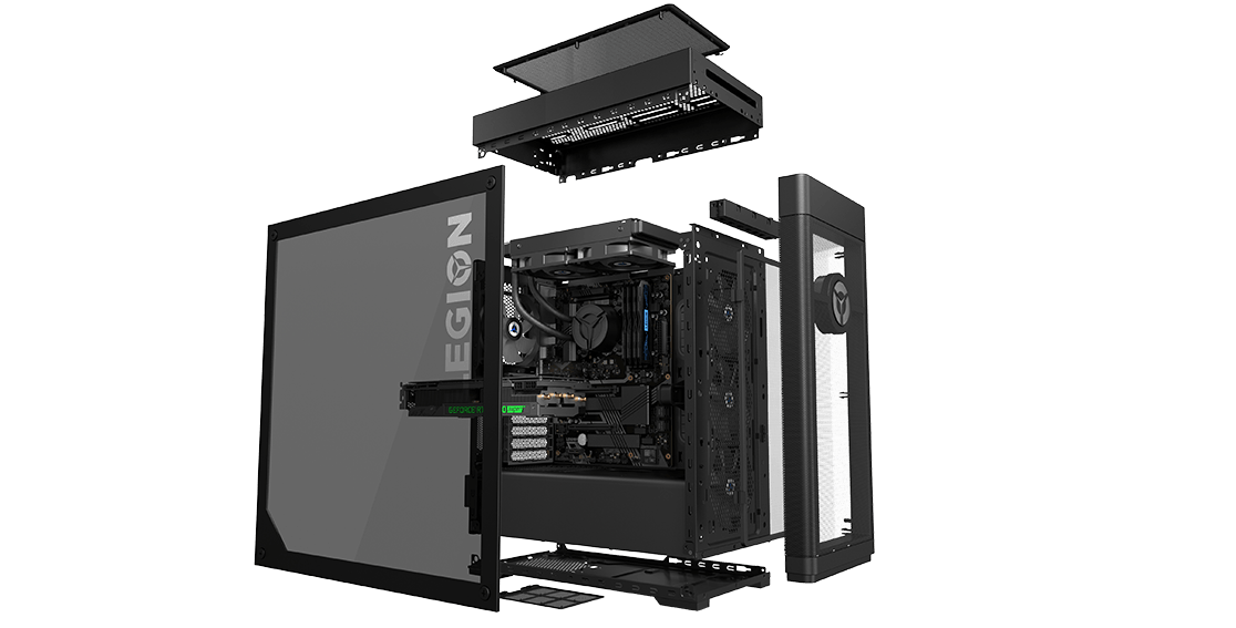 Lenovo Legion Tower 7i Individual Components Disassembled View