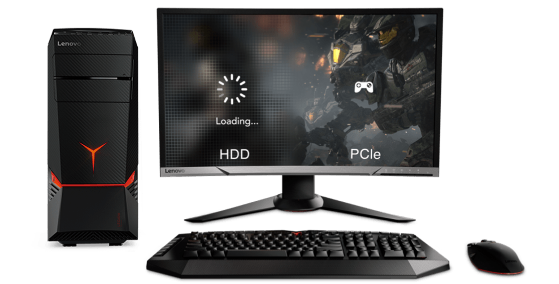 Lenovo Legion Y720 Tower, with monitor graphic showing slow versus fast loading screens