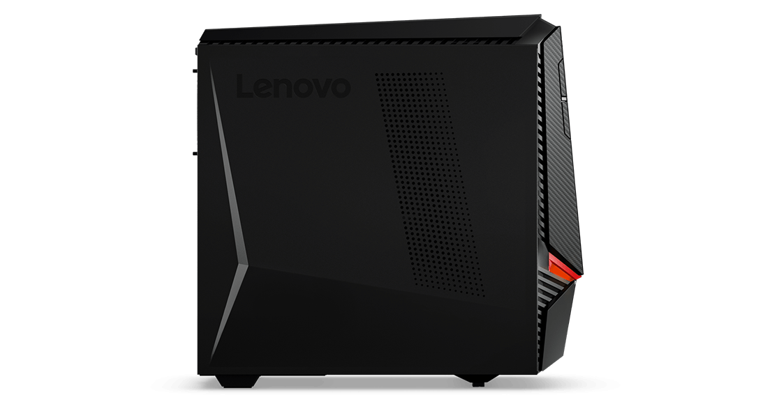 Lenovo Legion Y720 Tower, left side view with Lenovo logo and case venting