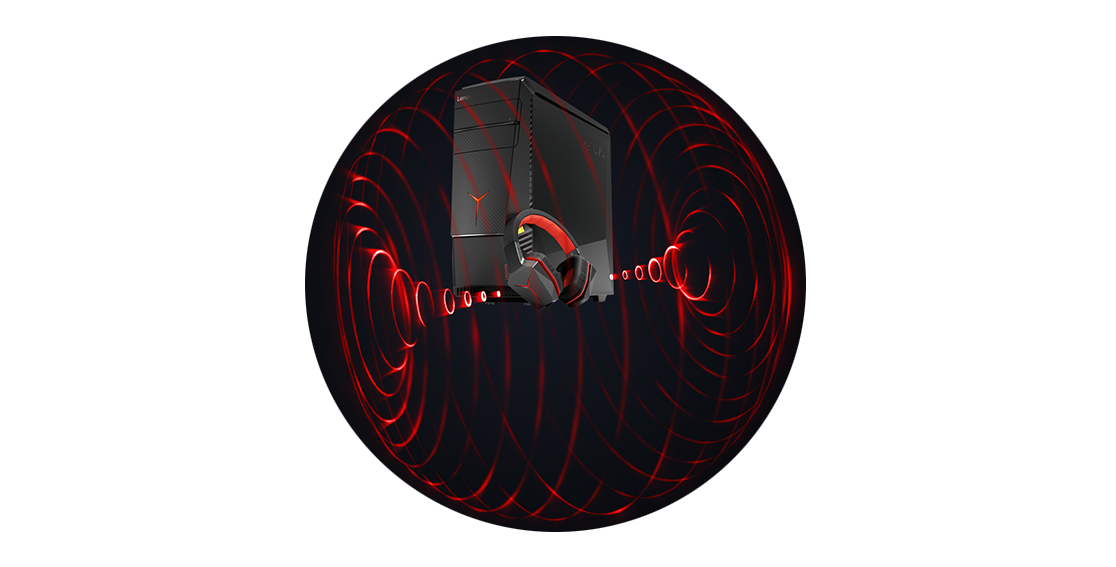 Lenovo Legion Y920 Tower, graphic red soundwaves surrounding tower and gaming headphones.