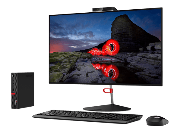 Lenovo ThinkCentre M630e Tiny, shown with optional monitor, keyboard, and mouse