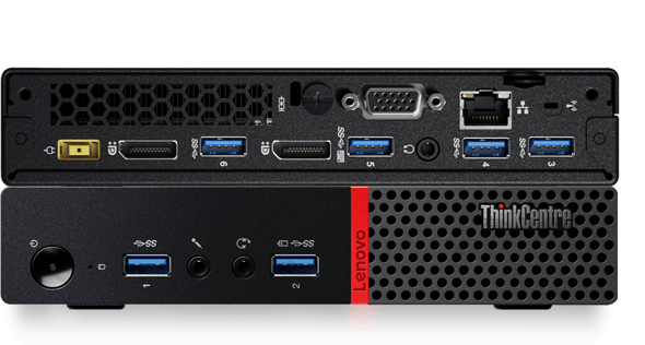 Lenovo ThinkCentre M700 Tiny, front and back detail views