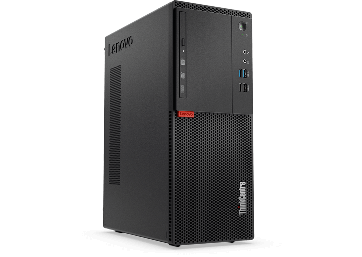 Angled view of ThinkCentre M715 tower showing front ports and left side vent.