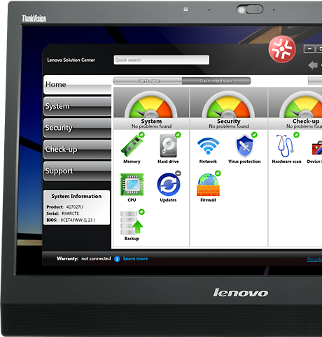 Lenovo ThinkCentre M73 SFF monitor showing Lenovo Solution Center software