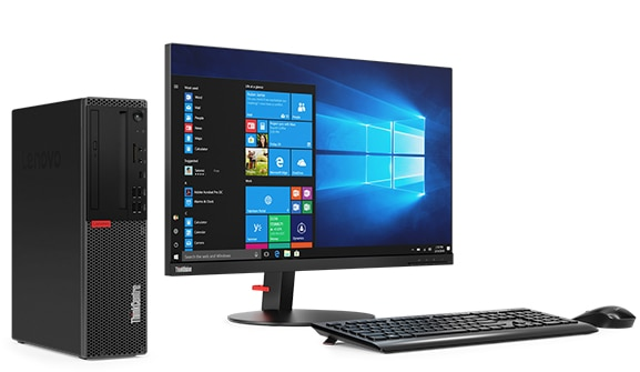 Lenovo ThinkCentre M920 SFF placed next to a display, wireless keyboard and mouse