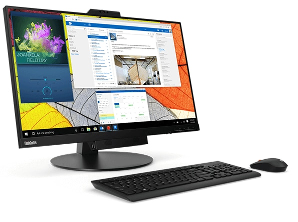 Lenovo ThinkCentre TIO 27 showing display with mouse and keyboard
