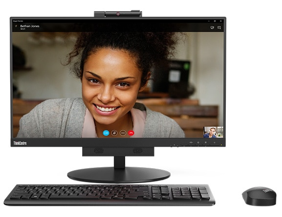 Lenovo ThinkCentre TIO 3 (24), front view showing video chat, with keyboard and mouse